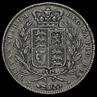 1844 Queen Victoria Young Head Silver Crown, Cinquefoil Stops Reverse