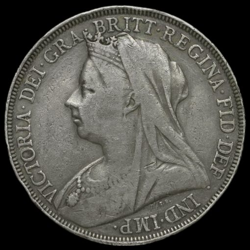 1897 Queen Victoria Veiled Head Silver LXI Crown Obverse