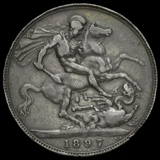 1897 Queen Victoria Veiled Head Silver LXI Crown Reverse