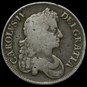 1673 Charles II Early Milled Silver Vicesimo Quinto Crown Obverse
