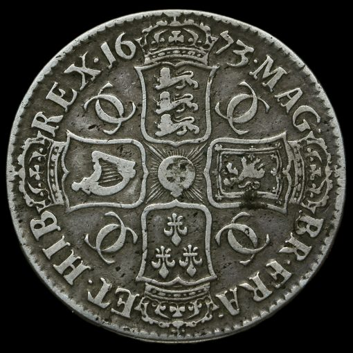 1673 Charles II Early Milled Silver Vicesimo Quinto Crown Reverse