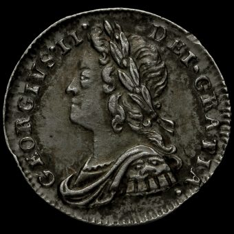 1740 George II Early Milled Silver Maundy Penny Obverse