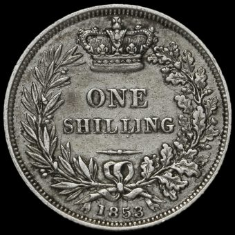 1853 Queen Victoria Young Head Silver Shilling Reverse