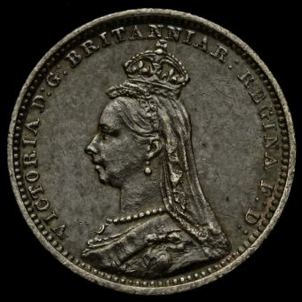 1889 Queen Victoria Jubilee Head Silver Maundy Twopence Obverse