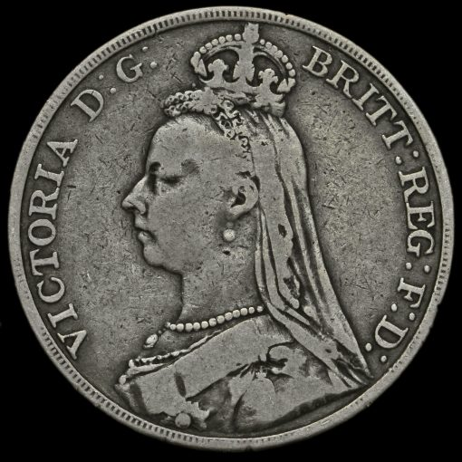 1890 Queen Victoria Jubilee Head Silver Crown Obverse