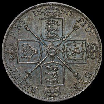 1890 Queen Victoria Jubilee Head Silver Double Florin Reverse