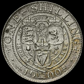 1900 Queen Victoria Veiled Head Silver Shilling Reverse