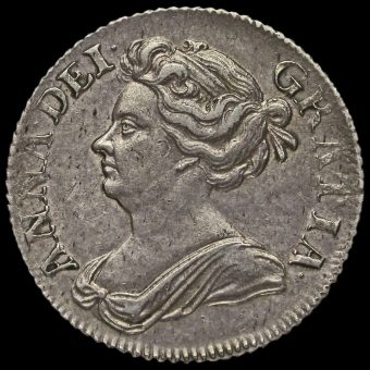 1709 Queen Anne Early Milled Silver Shilling Obverse