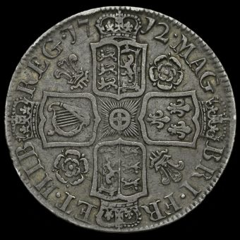 1712 Queen Anne Early Milled Silver Half Crown Reverse