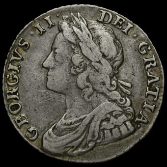 1734 George II Early Milled Silver Shilling Obverse