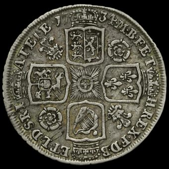 1734 George II Early Milled Silver Shilling Reverse