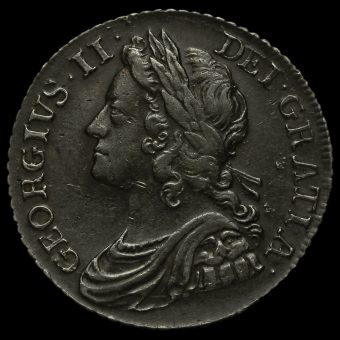 1739 George II Early Milled Silver Shilling Obverse