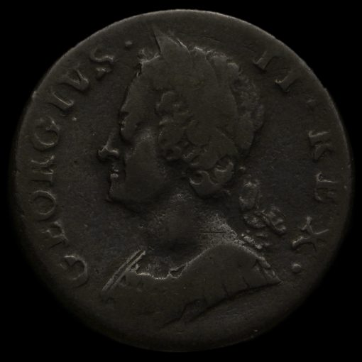 1747 George II Early Milled Copper Halfpenny Obverse