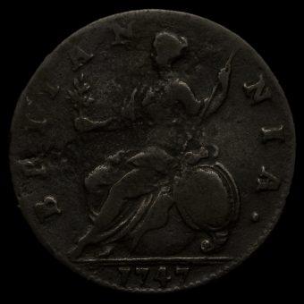 1747 George II Early Milled Copper Halfpenny Reverse