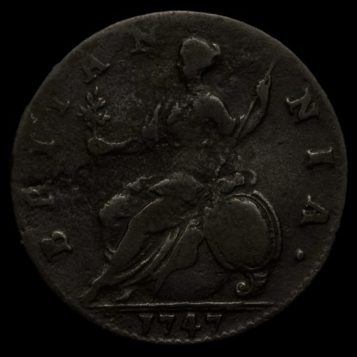 1747 George II Early Milled Copper Halfpenny Reverse
