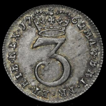 1762 George III Early Milled Silver Threepence Reverse