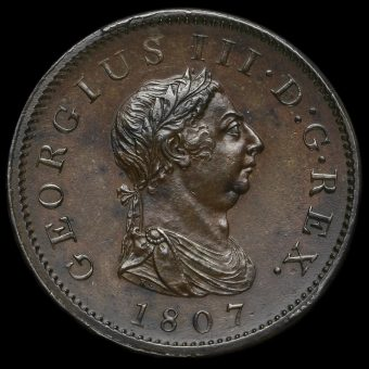 1807 George III Early Milled Copper Penny Obverse