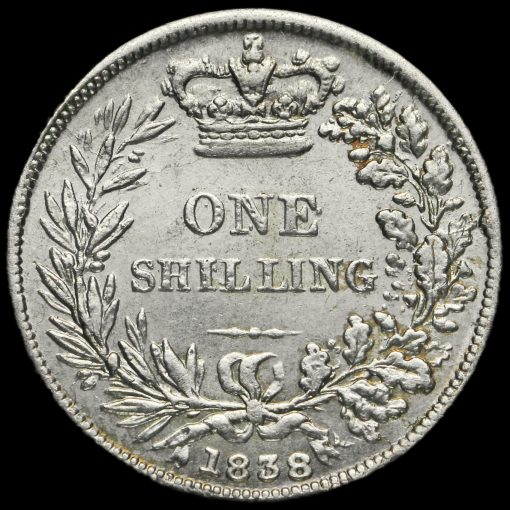 1838 Queen Victoria Young Head Silver Shilling Reverse