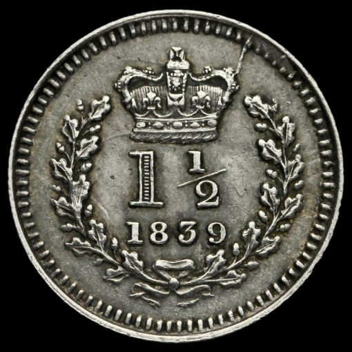 1839 Queen Victoria Young Head Silver Three-Halfpence Reverse
