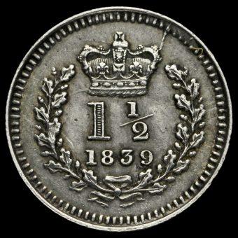 1839 Queen Victoria Young Head Silver Three-Halfpence Reverse
