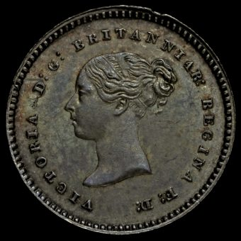 1848 Queen Victoria Young Head Silver Maundy Twopence Obverse