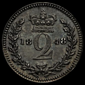 1848 Queen Victoria Young Head Silver Maundy Twopence Reverse
