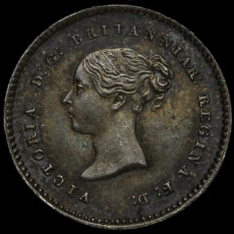 1865 Queen Victoria Young Head Silver Maundy Twopence Obverse