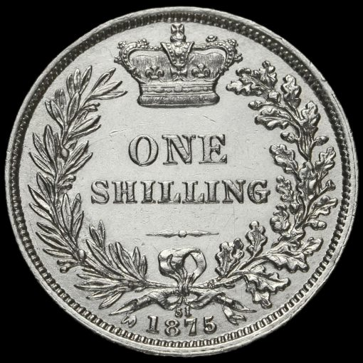 1875 Queen Victoria Young Head Silver Shilling Reverse
