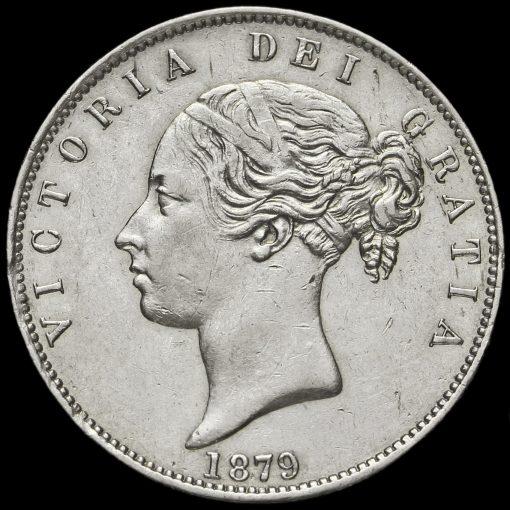 1879 Queen Victoria Young Head Silver Half Crown Obverse