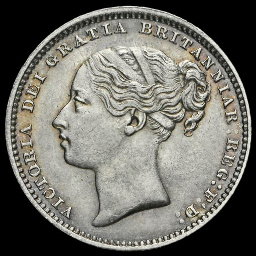1880 Queen Victoria Young Head Silver Shilling Obverse
