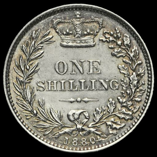 1880 Queen Victoria Young Head Silver Shilling Reverse