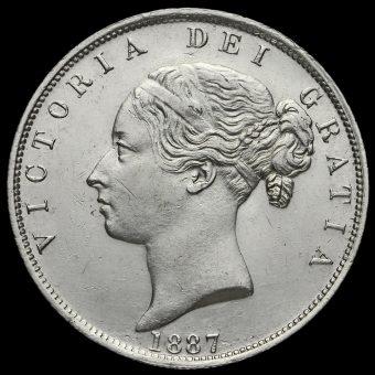 1887 Queen Victoria Young Head Silver Half Crown Obverse