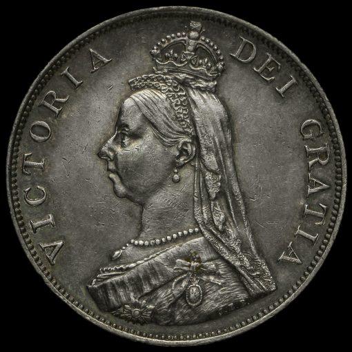 1888 Queen Victoria Jubilee Head Silver Double Florin Obverse