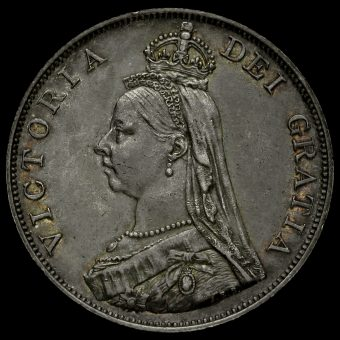 1888 Queen Victoria Jubilee Head Silver Double Florin Obverse
