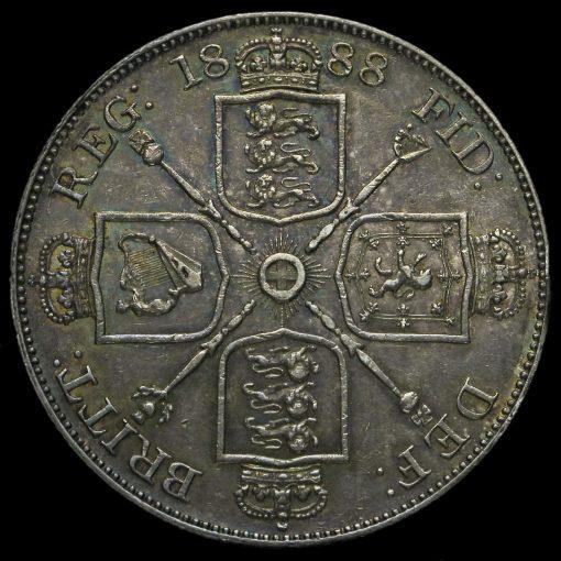 1888 Queen Victoria Jubilee Head Silver Double Florin Reverse