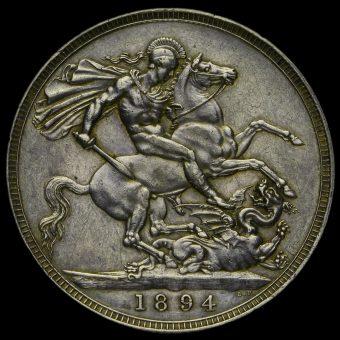 1894 Queen Victoria Veiled Head Silver LVIII Crown Reverse