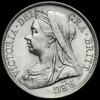 1895 Queen Victoria VeiledHead Silver Half Crown Obverse
