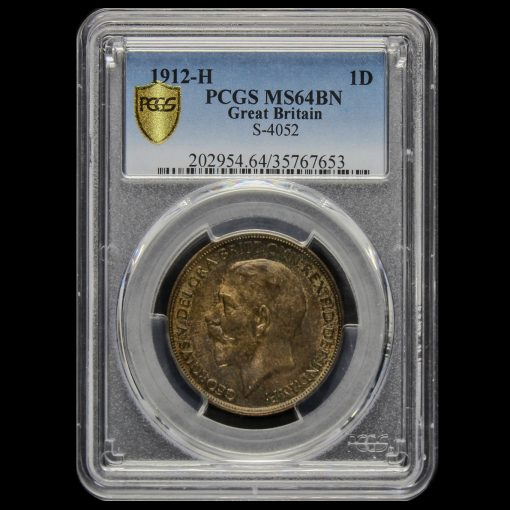1912 H George V Penny PCGS MS64