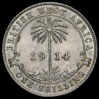 British West Africa 1914 George V Silver Shilling Reverse