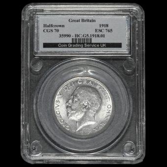 1918 George V Silver Half Crown CGS