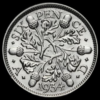 1934 George V Silver Sixpence Reverse