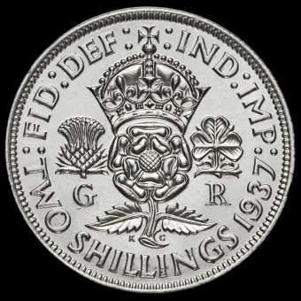 1937 George VI Silver Two Shilling Coin / Florin Reverse