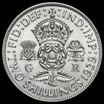 1939 George VI Silver Two Shilling Coin / Florin Reverse