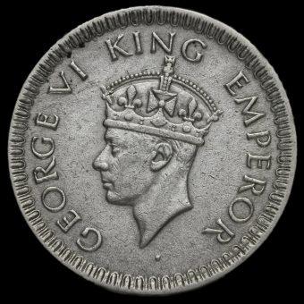 British India 1942 George VI 1/4 Rupee Obverse