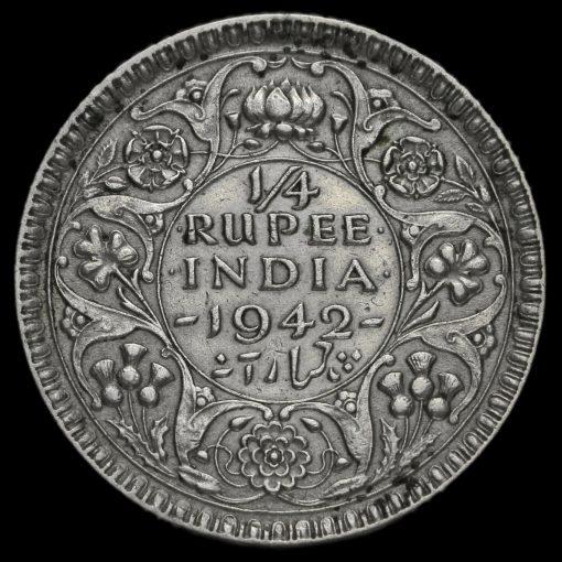 British India 1942 George VI 1/4 Rupee Reverse