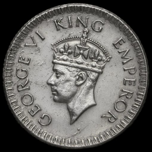 British India 1943 George VI 1/4 Rupee Obverse