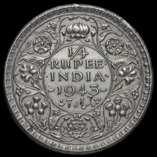 British India 1943 George VI 1/4 Rupee Reverse