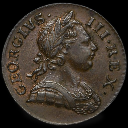 1771 George III Early Milled Copper Halfpenny Obverse