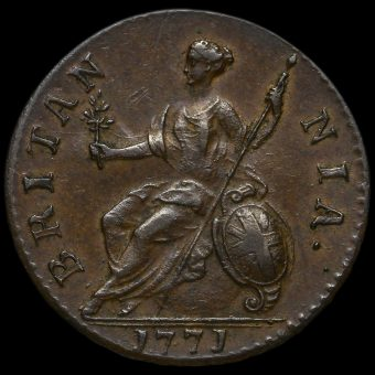 1771 George III Early Milled Copper Halfpenny Reverse