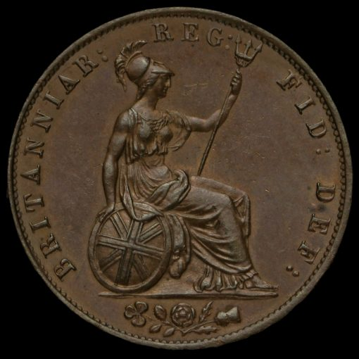 1854 Queen Victoria Young Head Copper Halfpenny Reverse